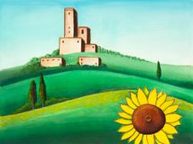Landscape and sunflower. Picturesque tuscan landscape. Hand painted illustration Royalty Free Stock Image