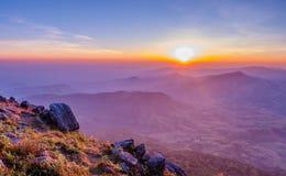 Landscape sunrise. Beautiful landscape sunrise on top of the mountain Royalty Free Stock Photos
