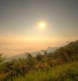 Landscape of sunrise and fog at Doi-Samer-Dao, northern Thailand Stock Photography