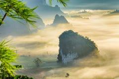Landscape of sunrise on Mountain at Phu Langka, Payao Province, Thailand royalty free stock images
