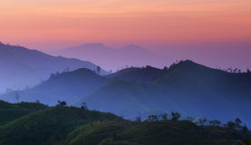 Landscape of sunrise over mountains in Kanchanabur Royalty Free Stock Photos