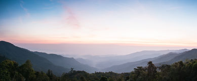 Landscape of sunrise over mountains Royalty Free Stock Images