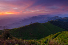 Landscape of sunrise over mountains,Thailand Stock Images