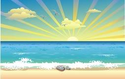 Landscape-sunrise over the ocean stock illustration