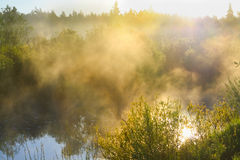 Landscape with sunrise over the river and fog Stock Photos