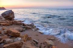 Landscape of  Sunrise with rocky sea coastline Royalty Free Stock Photo