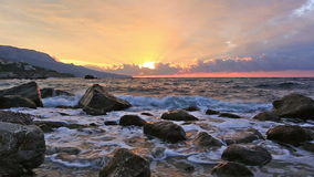 Landscape with the sunrise and sea waves stock footage