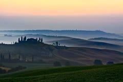 landscape sunrise tuscany στοκ εικόνες