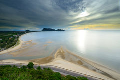 Landscape sunrise view of Ao Manao beach in Thailand Stock Image