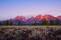 Landscape sunrise view at Grand Teton mountains, USA Stock Photo