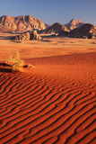 Landscape sunset. Sunset hour in the Wadi Rum desert in Jordan with sand dunes and mountains Royalty Free Stock Images