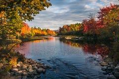 Autumn sunset in Maine. Landscape of sunset in autumn stock photo