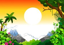 Landscape with sunset background Royalty Free Stock Image