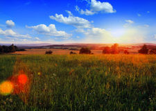 Landscape with sunset Royalty Free Stock Photo