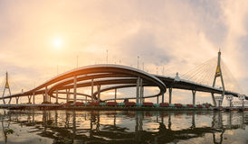 Landscape sunset of Bhumibol Bridge Royalty Free Stock Photography