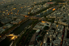 Landscape sunset in city. Paris city landscape from Eiffel tower Stock Photography