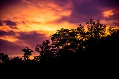 Landscape, sunset, with a cloudy sky. In India stock photo