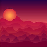 Landscape at sunset illustration. Space sunset. Desert at sunset. Sunset in space. Sunset on Mars. Desert at sunset illustration. Space sunset. Sunset in space Stock Images
