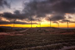 Landscape of sunset Khao Kho Windmills in Phetchabun,Thailand. Royalty Free Stock Photo