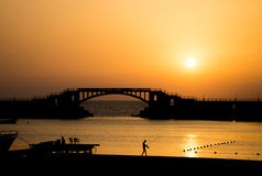 Landscape of the sunset at Montaza beach , in Alexandria - Egypt Stock Photo