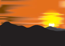 Landscape with sunset at mountain range Royalty Free Stock Photo