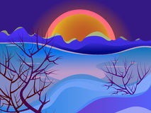 Landscape at sunset. Mountains, trees. Bright landscape. Red sun Royalty Free Stock Photography
