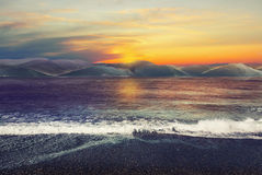 Landscape with sunset and ocean Stock Images