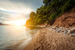 Landscape of sunset over beach at Montenegro Royalty Free Stock Photography