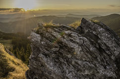Landscape  of sunset over mountains Royalty Free Stock Photography