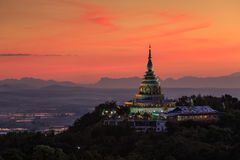 Landscape of sunset over pagoda in Chiang Mai Royalty Free Stock Images
