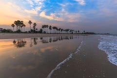 Landscape sunset and Palm Tree at Phetchaburi , Thailand Stock Photos