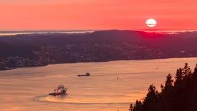 Landscape sunset scenery, Norway fjord Stock Image