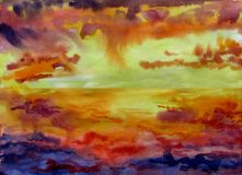 Landscape of a sunset at sea with clouds in the sky watercolor stock photography