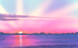 Landscape / Sunset / Sea / Digital painting. Sunset at sea, sunlight, water royalty free stock photo