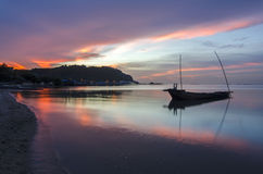 Landscape with sunset at the seashore and beautiful sky, Bangpha, Thailand Royalty Free Stock Photos