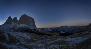 Landscape at sunset from Sella Pass Stock Photo