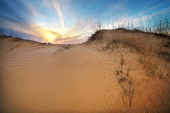 Landscape with sunset sky and sand. Royalty Free Stock Photos