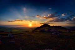 Landscape at sunset in spring Stock Images