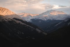Landscape, sunset view at Independence Pass near Aspen, Colorado. Landscape, sunset view of the mountains at Independence Pass near Aspen, Colorado stock photo