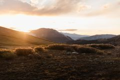 Landscape, sunset view at Independence Pass near Aspen, Colorado. Landscape, sunset view of the mountains at Independence Pass near Aspen, Colorado royalty free stock images