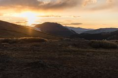 Landscape, sunset view at Independence Pass near Aspen, Colorado. Landscape, sunset view of the mountains at Independence Pass near Aspen, Colorado royalty free stock image