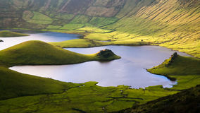 Landscape sunset view to Caldeirao crater, Corvo island, Azores, Portugal