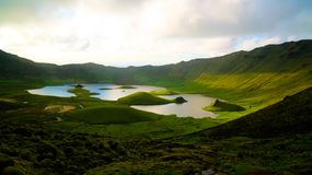 Landscape sunset view to Caldeirao crater, Corvo island, Azores, Portugal Stock Photo