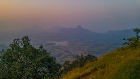 Landscape in a sunset. Landscape viewed from sunset point in matheran hill station near to mumbai city Royalty Free Stock Photos