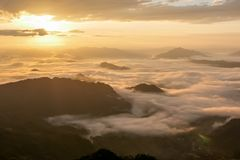 Landscape of sunshine on the morning mist at Phu Chee Fah. Chiangrai,Thailand Stock Image