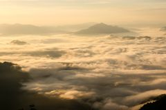 Landscape of sunshine on the morning mist at Phu Chee Fah. Chiangrai,Thailand Stock Photo