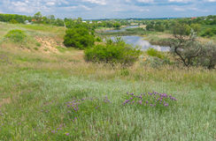 Landscape with Sura riverside in Sursko-Lytovske village, Ukraine Royalty Free Stock Photo