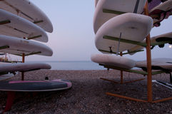 Landscape with surfboards. On a beach, Side, Turkey Royalty Free Stock Photos
