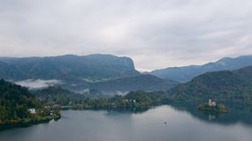 Landscape surrounding Bled Lake in Slovenia Royalty Free Stock Images