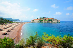 Landscape with Sveti Stefan island in Montenegro Stock Photo